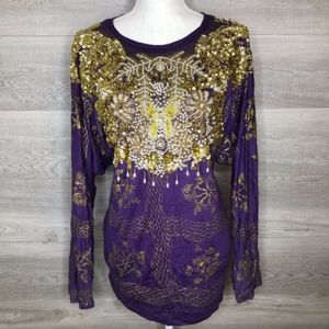 Gold Beaded Top by Bali Collection Purple